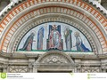 The tympanum with mosaic above the entrance to Westminster Cathedral in London, England. #art #britain