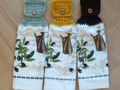 Hanging Kitchen Towel Olive Branch Doubled Towel Choice of Color Green, Yellow or Brown Top via Etsy
