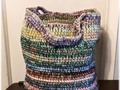 Large Storage Basket / Tote Heavy Duty Crocheted Multi Color Yarn & Cord Boho With Handles via Etsy