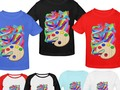 Bright & colorful textured paint strokes on kids shoes and shirts, looks like finger painting! #Artsadd #Gravityx9 -