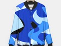 A-201 Abstract Blues Combo Baseball Style Jacket at #LiveHeroes by #Gravityx9 -
