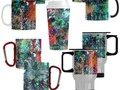 Colorful, yet dark, Graffiti wall and paint splatter covers these coffee mugs available at #Artsadd ~ #Gravityx9…