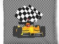 Yellow Race Car with Checkered Flag Throw Pillow by #Gravityx9 at #Skreened #Sports4you ~