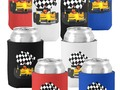 Yellow Race Car with Checkered Flag Can Cooler or Bottle cooler - racing fans will love the options!…