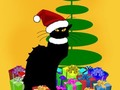 """ Christmas Le Chat Noir With Tree and Gifts"" Greeting Card by gravityx9 - ARTFLAKES #SpoofingTheArts -…"