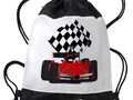 ~ #Backtoschoolshopping ~  * Red Race Car with Checkered Flag Drawstring Backpack by…
