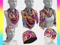 * Retro Circles Groovy Violet, Yellow, Blue Colors Scarves by #Gravityx9 at #ArtofWhere * Bold colors ...a retro lo…