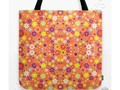 * Living Coral Colorful Floral Pattern Tote Bag by #Gravityx9 at #Society6 * Pretty flower…