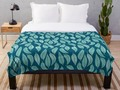 * Bleached Coral Blue Leaves Pattern Throw Blanket by Gravityx9 at Redbubble * Colorful nat…
