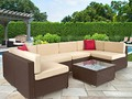 7pc Outdoor Patio Garden Furniture Wicker Rattan Sofa Set Sectional Brown #ad