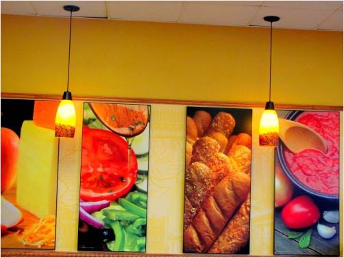 Subway restaurant wall art with decor lamp lights redgage