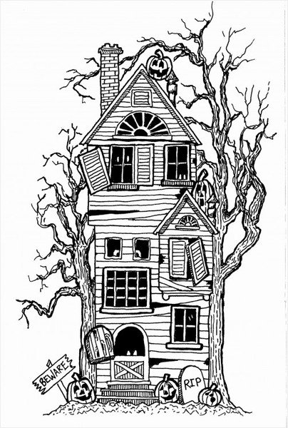 Pen House Drawing Haunted House Drawing in Pen