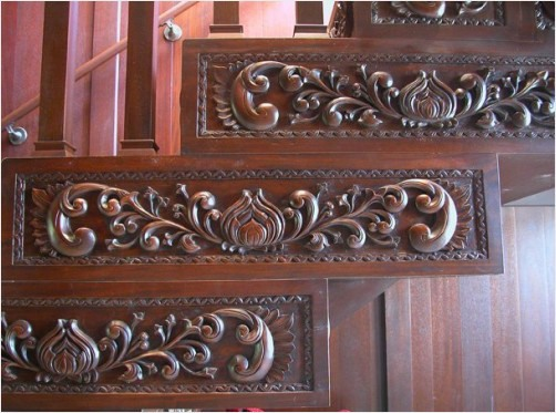 Hand carved hardwood deep relief staircase riser