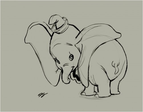 Dumbo Elephant Drawing Dumbo Drawing For Grandkids