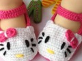 Zapatitos en Crochet para Bebe - Hello Kitty