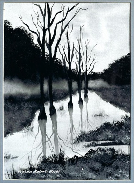 black and white watercolor painting redgage