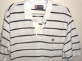 Mens CHAPS Size Unknown White With Navy Stripes Short Sleeve Textured Polo Shirt