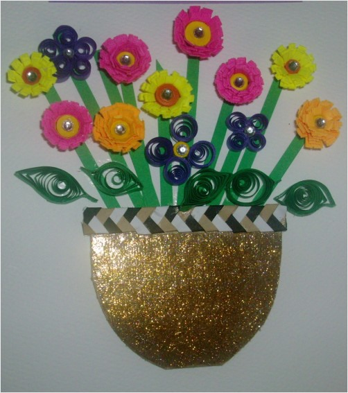 How To Make A Quilling Flower Basket : Quilling a quillied basket of flowers redgage